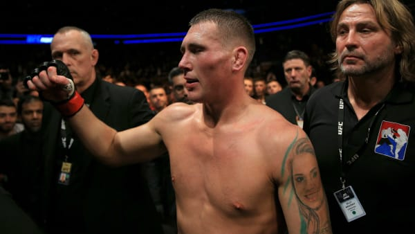 LONDON, ENGLAND - MARCH 16: Darren Till acknowledges the fans as he walks out of the ring looking dejected after losing his Welterweight bout to Jorge Masvidal at The O2 Arena on March 16, 2019 in London, England. (Photo by James Chance/Getty Images)