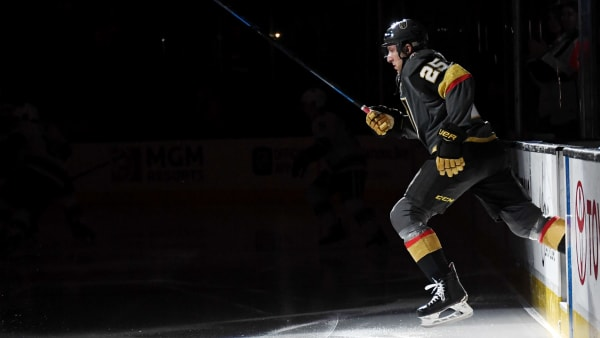 LAS VEGAS, NV - FEBRUARY 23:  Stefan Matteau #25 of the Vegas Golden Knights steps onto the ice for a game against the Vancouver Canucks at T-Mobile Arena on February 23, 2018 in Las Vegas, Nevada. The Golden Knights won 6-3.  (Photo by Ethan Miller/Getty Images)
