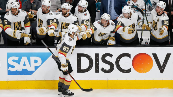SAN JOSE, CA - APRIL 23: Max Pacioretty #67 of the Vegas Golden Knights celebrates after scoring against the San Jose Sharks in Game Seven of the Western Conference First Round during the 2019 NHL Stanley Cup Playoffs at SAP Center on April 23, 2019 in San Jose, California. (Photo by Lachlan Cunningham/Getty Images)