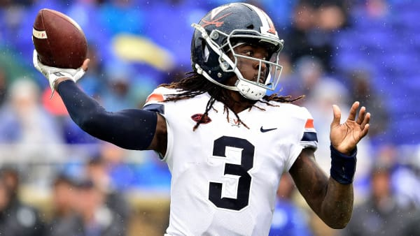 DURHAM, NC - OCTOBER 20:  Bryce Perkins #3 of the Virginia Cavaliers looks to pass against the Duke Blue Devils during their game at Wallace Wade Stadium on October 20, 2018 in Durham, North Carolina.  (Photo by Grant Halverson/Getty Images)