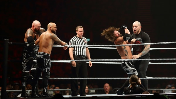 SINGAPORE - JUNE 27:  Baron Corbin (R) in action against AJ Styles during the WWE Live Singapore at the Singapore Indoor Stadium on June 27, 2019 in Singapore.  (Photo by Suhaimi Abdullah/Getty Images for Singapore Sports Hub)
