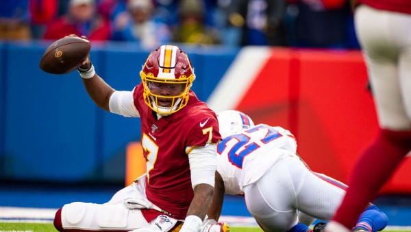 ORCHARD PARK, NY - NOVEMBER 03:  Dwayne Haskins #7 of the Washington Redskins holds the ball up after being sacked on a third down by Tre'Davious White #27 of the Buffalo Bills during the fourth quarter at New Era Field on November 3, 2019 in Orchard Park, New York. Buffalo defeats Washington 24-9.  (Photo by Brett Carlsen/Getty Images)