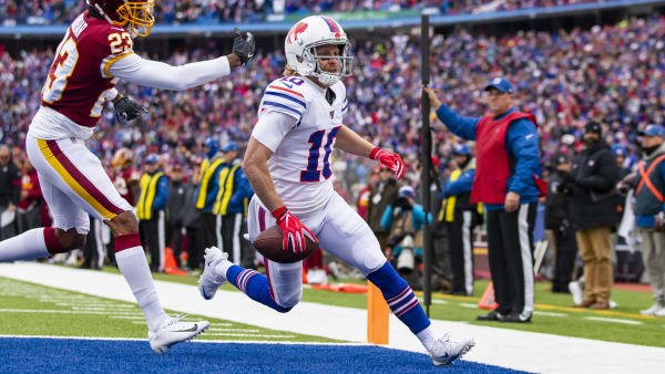 ORCHARD PARK, NY - NOVEMBER 03:  Cole Beasley #10 of the Buffalo Bills scores a touchdown on a pass reception during the first quarter against the Washington Redskins at New Era Field on November 3, 2019 in Orchard Park, New York.  (Photo by Brett Carlsen/Getty Images)