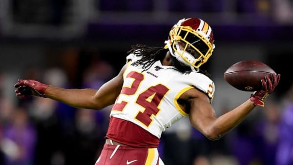MINNEAPOLIS, MINNESOTA - OCTOBER 24: Josh Norman #24 of the Washington Redskins warms up before the game against the Minnesota Vikings at U.S. Bank Stadium on October 24, 2019 in Minneapolis, Minnesota. (Photo by Hannah Foslien/Getty Images)