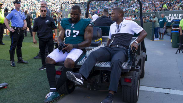 PHILADELPHIA, PA - SEPTEMBER 08: Malik Jackson #97 of the Philadelphia Eagles is carted off into the locker room in the fourth quarter against the Washington Redskins at Lincoln Financial Field on September 8, 2019 in Philadelphia, Pennsylvania. The Eagles defeated the Redskins 32-27. (Photo by Mitchell Leff/Getty Images)