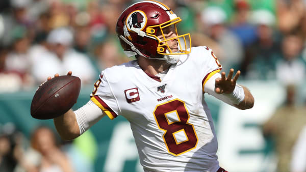 PHILADELPHIA, PENNSYLVANIA - SEPTEMBER 08: Quarterback Case Keenum #8 of the Washington Redskins in action against the Philadelphia Eagles at Lincoln Financial Field on September 8, 2019 in Philadelphia, Pennsylvania. (Photo by Patrick Smith/Getty Images)