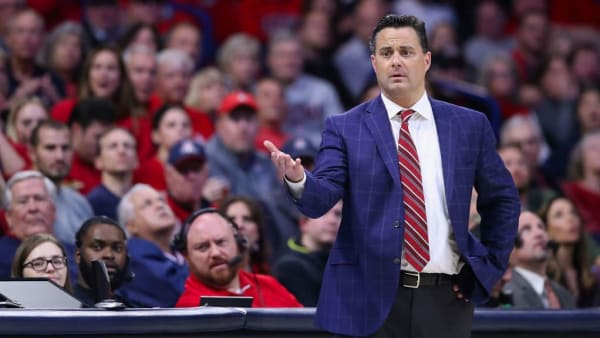 TUCSON, ARIZONA - FEBRUARY 07:  Head coach Sean Miller of the Arizona Wildcats reacts during the NCAAB game against the Washington Huskies at McKale Center on February 07, 2019 in Tucson, Arizona. The Huskies defeated the Wildcats 67-60. (Photo by Christian Petersen/Getty Images)