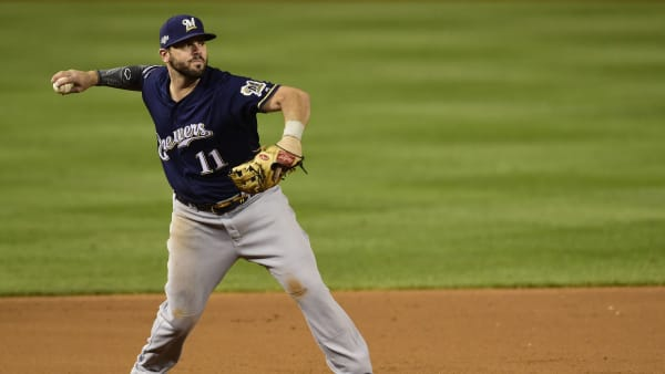 New Cincinnati Red Mike Moustakas Fields Grounder for Milwaukee Brewers