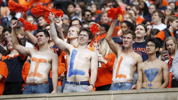 CHAMPAIGN, IL - OCTOBER 19: Illinois Fighting Illini fans cheer against the Wisconsin Badgers in the first half of the game at Memorial Stadium on October 19, 2019 in Champaign, Illinois. (Photo by Joe Robbins/Getty Images)