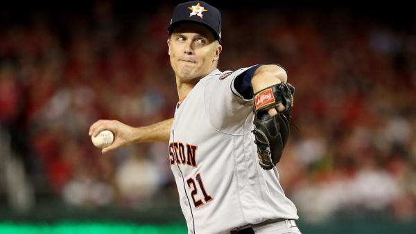 WASHINGTON, DC - OCTOBER 25:  Zack Greinke #21 of the Houston Astros delivers the pitch against the Washington Nationals during the first inning in Game Three of the 2019 World Series at Nationals Park on October 25, 2019 in Washington, DC. (Photo by Patrick Smith/Getty Images)