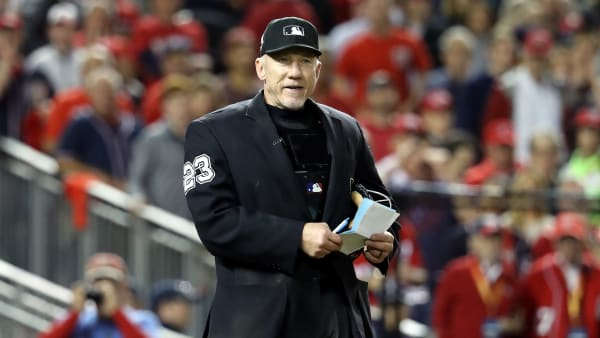 WASHINGTON, DC - OCTOBER 27:  Umpire Lance Barksdale #23 looks on in Game Five of the 2019 World Series between the Houston Astros and the Washington Nationals at Nationals Park on October 27, 2019 in Washington, DC. (Photo by Rob Carr/Getty Images)