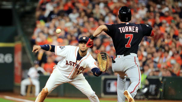 HOUSTON, TEXAS - OCTOBER 29:  Trea Turner #7 of the Washington Nationals is called out on runner interference for colliding with Yuli Gurriel #10 of the Houston Astros during the seventh inning in Game Six of the 2019 World Series at Minute Maid Park on October 29, 2019 in Houston, Texas. (Photo by Mike Ehrmann/Getty Images)
