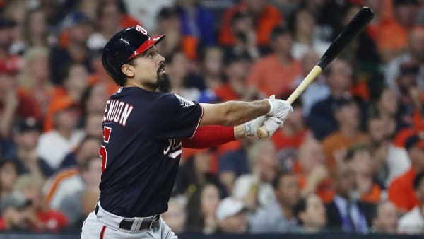 HOUSTON, TEXAS - OCTOBER 22:  Anthony Rendon #6 of the Washington Nationals flies out against the Houston Astros during the first inning in Game One of the 2019 World Series at Minute Maid Park on October 22, 2019 in Houston, Texas. (Photo by Elsa/Getty Images)