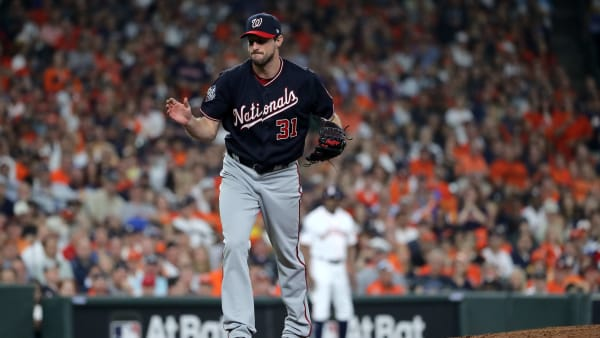 HOUSTON, TEXAS - OCTOBER 22:  Max Scherzer #31 of the Washington Nationals reacts after retiring the side in the fifth inning against the Houston Astros in Game One of the 2019 World Series at Minute Maid Park on October 22, 2019 in Houston, Texas. (Photo by Elsa/Getty Images)