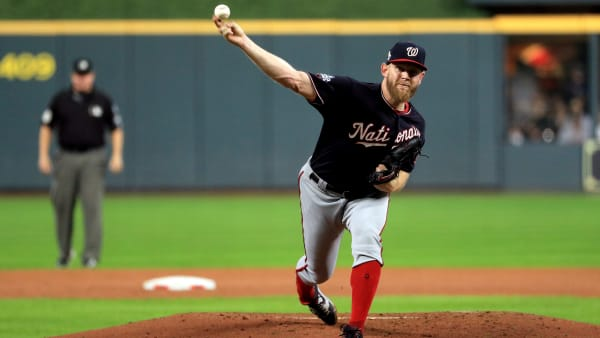 HOUSTON, TEXAS - OCTOBER 29:  Stephen Strasburg #37 of the Washington Nationals delivers the pitch against the Houston Astros during the first inning in Game Six of the 2019 World Series at Minute Maid Park on October 29, 2019 in Houston, Texas. (Photo by Mike Ehrmann/Getty Images)