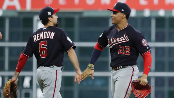 HOUSTON, TEXAS - OCTOBER 23:  Juan Soto #22 and Anthony Rendon #6 of the Washington Nationals celebrate their 12-3 win over the Houston Astros in Game Two of the 2019 World Series at Minute Maid Park on October 23, 2019 in Houston, Texas. (Photo by Elsa/Getty Images)