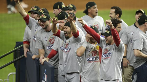 HOUSTON, TEXAS - OCTOBER 30: The Washington Nationals celebrate after defeating the Houston Astros in Game Seven to win the 2019 World Series at Minute Maid Park on October 30, 2019 in Houston, Texas. The Washington Nationals defeated the Houston Astros with a score of 6 to 2. (Photo by Bob Levey/Getty Images)