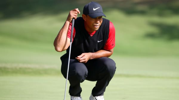 INZAI, JAPAN - OCTOBER 28: Tiger Woods of the United States lines up a putt on the 18th green during the final round of the Zozo Championship at Accordia Golf Narashino Country Club on October 28, 2019 in Inzai, Chiba, Japan. (Photo by Chung Sung-Jun/Getty Images)