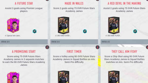 Daniel James received the second FUT Future Stars Academy objective card