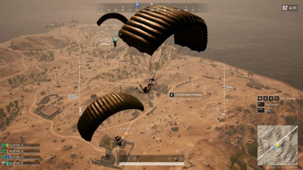 PUBG Update 6.2 allows players to automatically follow the parachute paths of their teammates