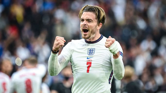 Jack Grealish reacts to England's Euro 2020 win over Germany