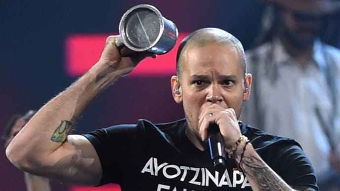 LAS VEGAS, NV - NOVEMBER 20:  Singer Rene Perez Joglar of Calle 13 performs during the 15th annual Latin GRAMMY Awards at the MGM Grand Garden Arena on November 20, 2014 in Las Vegas, Nevada.  (Photo by Ethan Miller/Getty Images)