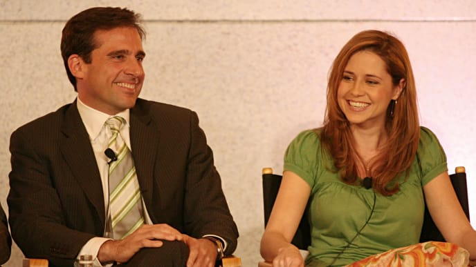"""PASADENA, CA - JANUARY 22:  Actor Steve Carell and actress Jenna Fischer of """"The Office"""" speak during the NBC executive question and answer segment of the Television Critics Association Press Tour at the Ritz Carlton Hotel on January 22, 2006 in Pasadena, California.  (Photo by Frederick M. Brown/ Getty Images)"""