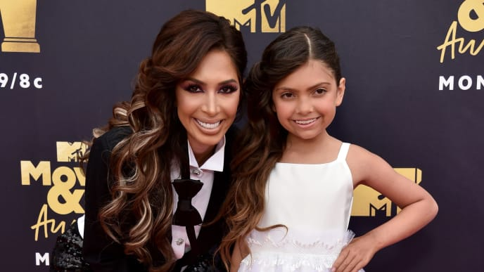 SANTA MONICA, CA - JUNE 16:  TV personalities Farrah Abraham (L) and Sophia Abraham attend the 2018 MTV Movie And TV Awards at Barker Hangar on June 16, 2018 in Santa Monica, California.  (Photo by Alberto E. Rodriguez/Getty Images for MTV)