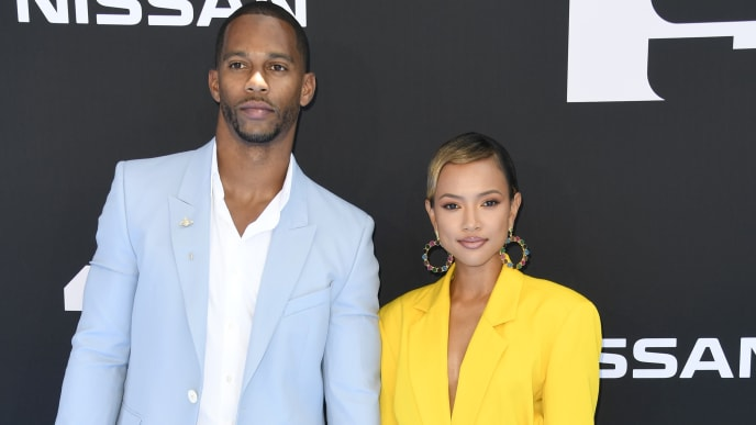 LOS ANGELES, CALIFORNIA - JUNE 23: (L-R) Victor Cruz and Karrueche Tran attend the 2019 BET Awards on June 23, 2019 in Los Angeles, California. (Photo by Frazer Harrison/Getty Images)