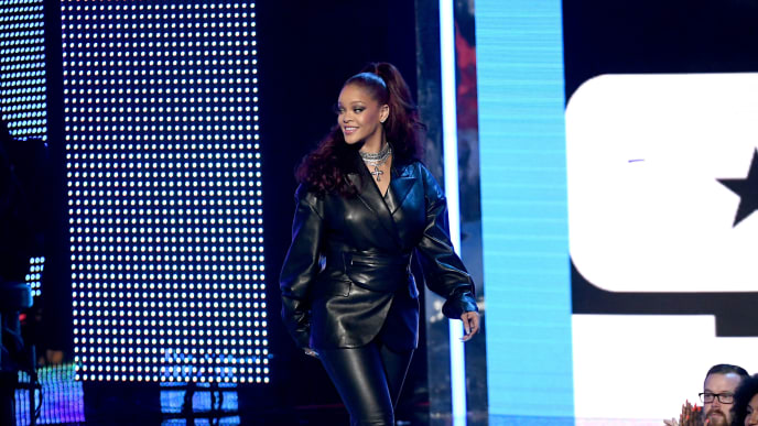 LOS ANGELES, CALIFORNIA - JUNE 23: Rihanna walks onstage at the 2019 BET Awards on June 23, 2019 in Los Angeles, California. (Photo by Kevin Winter/Getty Images)