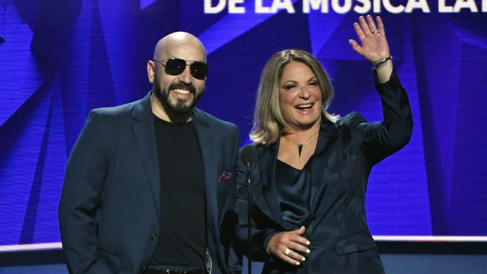 LAS VEGAS, NEVADA - APRIL 25:  Lupillo Rivera (L) and Ana Maria Polo present an award during the 2019 Billboard Latin Music Awards at the Mandalay Bay Events Center on April 25, 2019 in Las Vegas, Nevada.  (Photo by Ethan Miller/Getty Images)