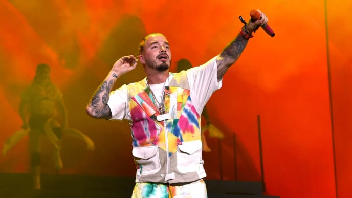 INDIO, CA - APRIL 13:  J Balvin performs at Coachella Stage during the 2019 Coachella Valley Music And Arts Festival on April 13, 2019 in Indio, California.  (Photo by Kevin Winter/Getty Images for Coachella)