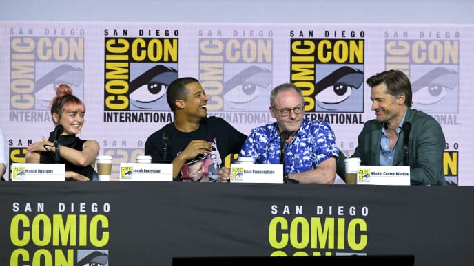 """SAN DIEGO, CALIFORNIA - JULY 19: (L-R) Maisie Williams, Jacob Anderson, Liam Cunningham and Nikolaj Coster-Waldau speak at the """"Game Of Thrones"""" Panel And Q&A during 2019 Comic-Con International at San Diego Convention Center on July 19, 2019 in San Diego, California. (Photo by Kevin Winter/Getty Images)"""