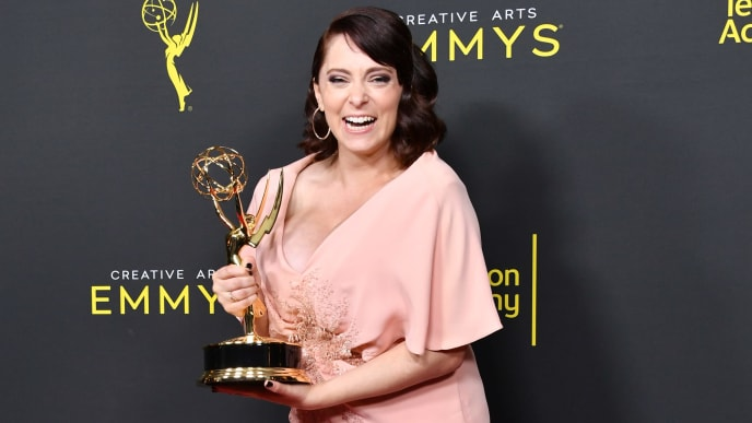 LOS ANGELES, CALIFORNIA - SEPTEMBER 14: Rachel Bloom poses with the Outstanding Original Music and Lyrics Award for 'Crazy Ex-Girlfriend' in the press room during the 2019 Creative Arts Emmy Awards on September 14, 2019 in Los Angeles, California. (Photo by Amy Sussman/Getty Images)