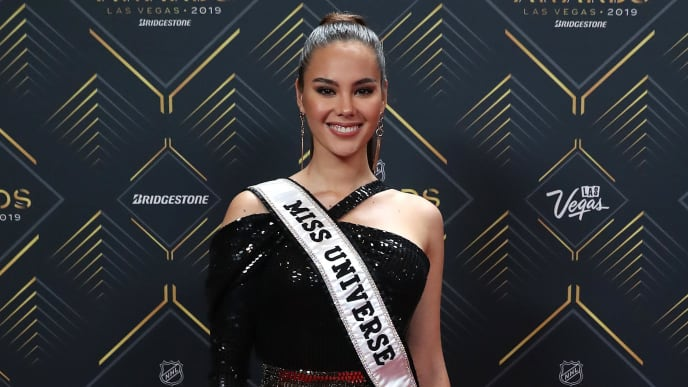 LAS VEGAS, NEVADA - JUNE 19: Miss Universe 2018 Catriona Gray arrives at the 2019 NHL Awards at the Mandalay Bay Events Center on June 19, 2019 in Las Vegas, Nevada. (Photo by Bruce Bennett/Getty Images)