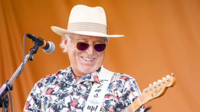 NEW ORLEANS, LOUISIANA - MAY 05: Jimmy Buffett performs during the New Orleans Jazz and Heritage Festival 2019 50th Anniversary at Fair Grounds Race Course on MAY 05, 2019 in New Orleans, Louisiana.  (Photo by Douglas Mason/Getty Images) (Photo by Douglas Mason/Getty Images)