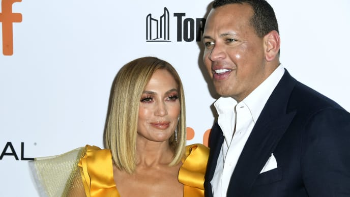 """TORONTO, ONTARIO - SEPTEMBER 07: (L-R) Jennifer Lopez and Alex Rodriguez attend the """"Hustlers"""" premiere during the 2019 Toronto International Film Festival at Roy Thomson Hall on September 07, 2019 in Toronto, Canada. (Photo by Frazer Harrison/Getty Images)"""
