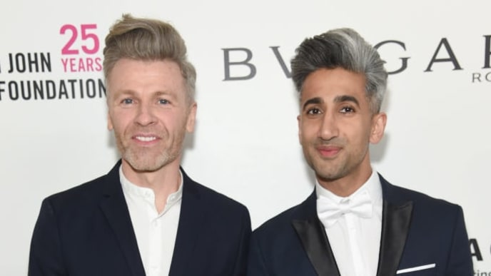 WEST HOLLYWOOD, CA - MARCH 04:  Rob France (L) and Tan France attends the 26th annual Elton John AIDS Foundation Academy Awards Viewing Party sponsored by Bulgari, celebrating EJAF and the 90th Academy Awards at The City of West Hollywood Park on March 4, 2018 in West Hollywood, California.  (Photo by Jamie McCarthy/Getty Images for EJAF)