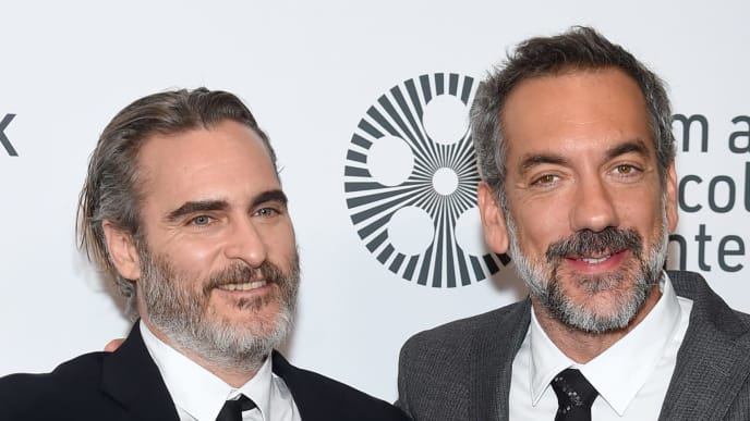 """NEW YORK, NEW YORK - OCTOBER 02: Joaquin Phoenix and Todd Phillips attend the 57th New York Film Festival """"Joker"""" Arrivals at Alice Tully Hall, Lincoln Center on October 02, 2019 in New York City. (Photo by Jamie McCarthy/Getty Images for Film at Lincoln Center)"""