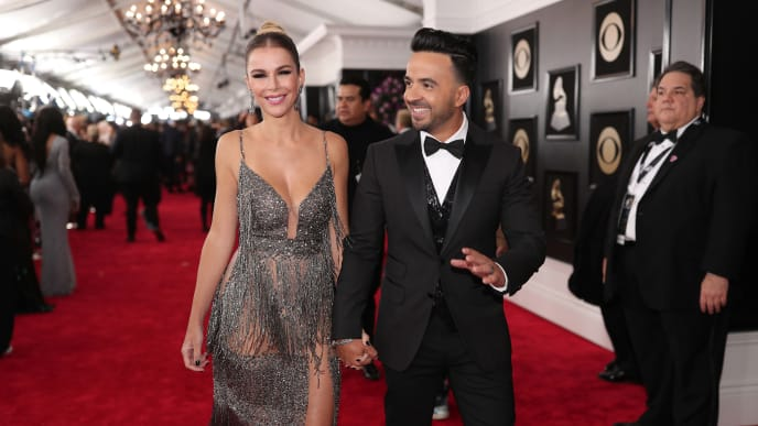 NEW YORK, NY - JANUARY 28:  Model Agueda Lopez (L) and recording artist Luis Fonsi attend the 60th Annual GRAMMY Awards at Madison Square Garden on January 28, 2018 in New York City.  (Photo by Christopher Polk/Getty Images for NARAS)