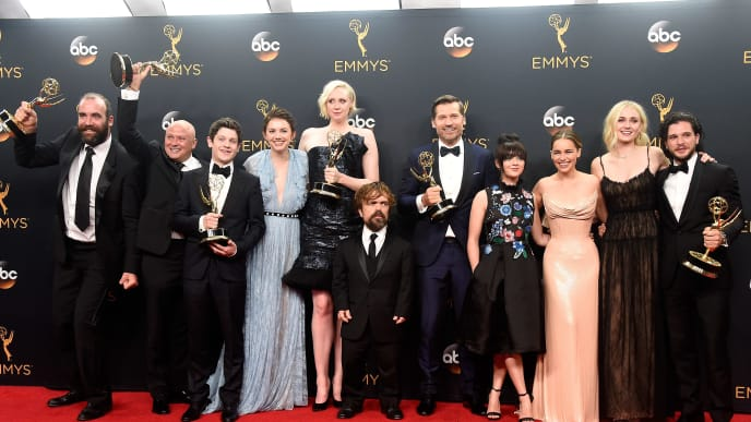 """LOS ANGELES, CA - SEPTEMBER 18: (L-R) Actors Rory McCann, Conleth Hill, Iwan Rheon, Gwendoline Christie, Peter Dinklage, Nikolaj Coster-Waldau, Maisie Williams, Emilia Clarke, Sophie Turner and Kit Harington, winners of Best Drama Series for """"Game of Thrones"""", pose in the press room during the 68th Annual Primetime Emmy Awards at Microsoft Theater on September 18, 2016 in Los Angeles, California.  (Photo by Frazer Harrison/Getty Images)"""