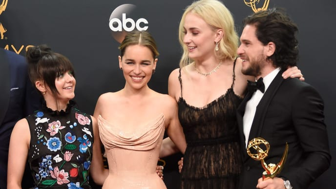 """LOS ANGELES, CA - SEPTEMBER 18:  (L-R) Actors Maisie Williams, Emilia Clarke, Sophie Turner and Kit Harington, winners of Best Drama Series for """"Game of Thrones"""", pose in the press room during the 68th Annual Primetime Emmy Awards at Microsoft Theater on September 18, 2016 in Los Angeles, California.  (Photo by Frazer Harrison/Getty Images)"""