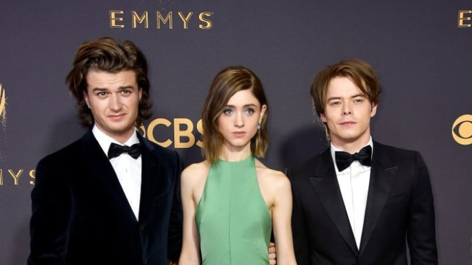 LOS ANGELES, CA - SEPTEMBER 17:  (L-R) Actors Joe Keery, Natalia Dyer and Charlie Heaton attend the 69th Annual Primetime Emmy Awards at Microsoft Theater on September 17, 2017 in Los Angeles, California.  (Photo by Frazer Harrison/Getty Images)