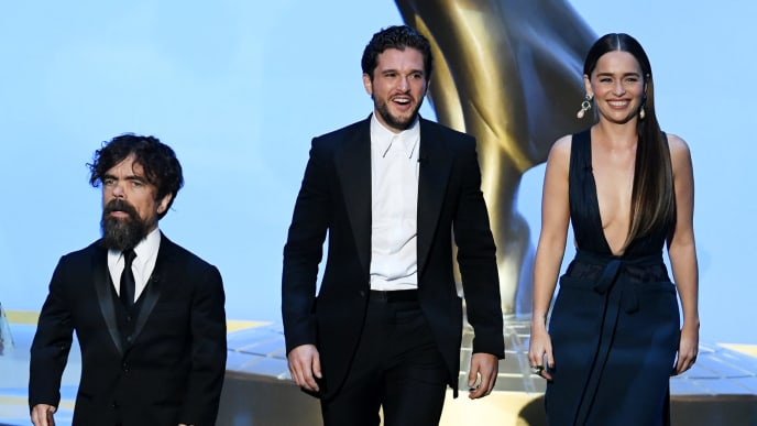 LOS ANGELES, CALIFORNIA - SEPTEMBER 22: (L-R) Peter Dinklage, Kit Harington, and Emilia Clarke speak onstage during the 71st Emmy Awards at Microsoft Theater on September 22, 2019 in Los Angeles, California. (Photo by Kevin Winter/Getty Images)