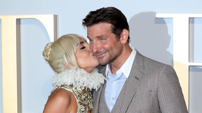LONDON, ENGLAND - SEPTEMBER 27:  Lady Gaga and Bradley Cooper attend the UK premiere of 'A Star Is Born' held at Vue West End on September 27, 2018 in London, England.  (Photo by Tim P. Whitby/Getty Images)