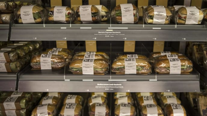 SEATTLE, WA - JANUARY 22: Fresh-made daily sandwiches are on display at the Amazon Go on January 22, 2018 in Seattle, Washington. After more than a year in beta Amazon opened the cashier-less store to the public. (Photo by Stephen Brashear/Getty Images)