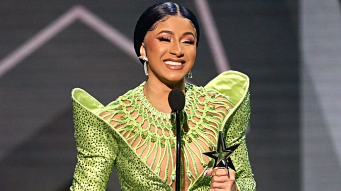 LOS ANGELES, CALIFORNIA - JUNE 23: Cardi B accepts the Album of the Year award for 'Invasion of Privacy' onstage at the 2019 BET Awards at Microsoft Theater on June 23, 2019 in Los Angeles, California. (Photo by Frederick M. Brown/Getty Images for BET)
