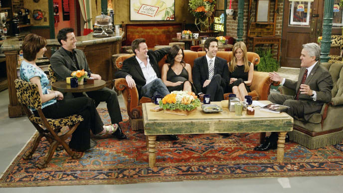 """LOS ANGELES - MAY 6:  (L-R)  In this handout photo provided by NBC, the cast of """"Friends"""", actors Lisa Kudrow, Matt LeBlanc, Matthew Perry, Courteney Cox-Arquette, David Schwimmer and Jennifer Aniston sat down with Jay Leno for a special """"Tonight Show,"""" on the set of Central Perk on May 6, 2004 in Los Angeles, California. (Photo by Paul Drinkwater/NBC via Getty Images)"""