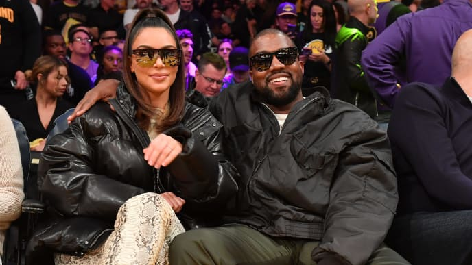 Kim Kardashian and Kanye West sit courtside at Cleveland Cavaliers and Los Angeles Lakers game