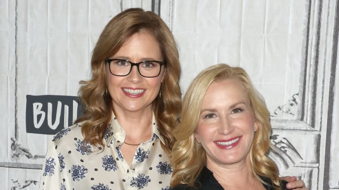 NEW YORK, NEW YORK - OCTOBER 16: Actresses Jenna Fischer (L) and Angela Kinsey attend the Build Series at Build Studio on October 16, 2019 in New York City. (Photo by Jim Spellman/Getty Images)
